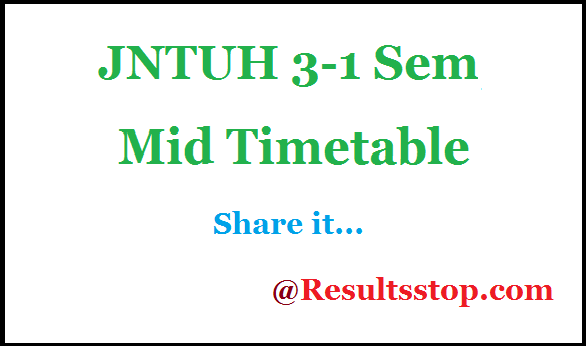 JNTUH 3-1 Sem 2nd Mid timetable , JNTUH 3-1 Semester 2nd Mid timetable 2018