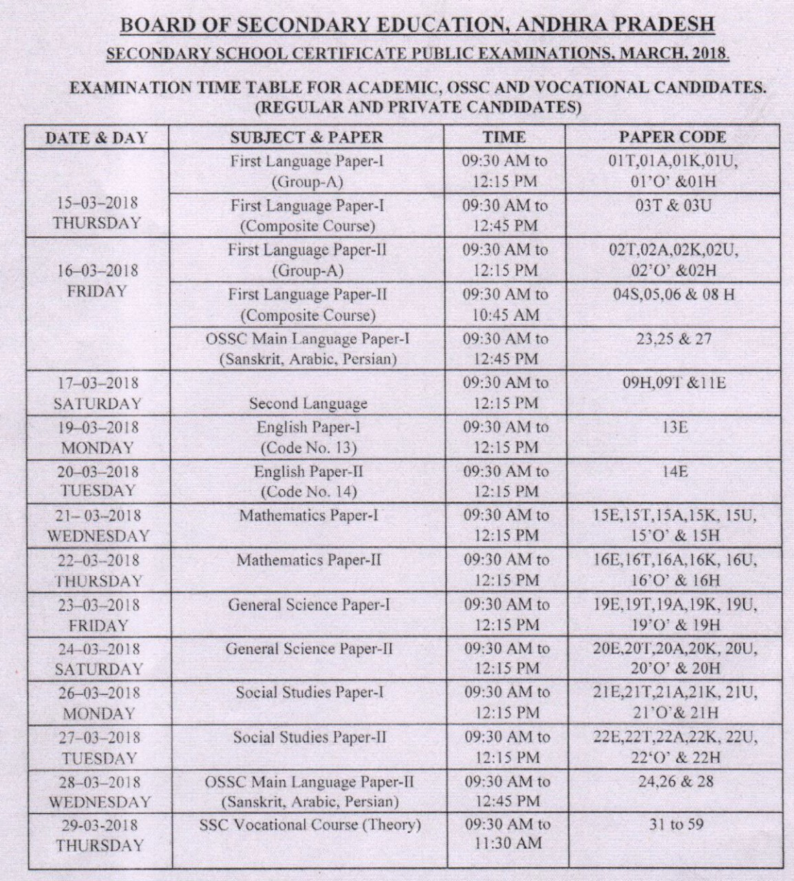 ap ssc Time table, ap ssc Time table 2018